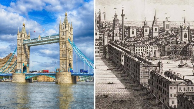 London Bridge now and then