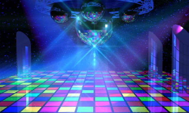 Disco balls with colorful floor